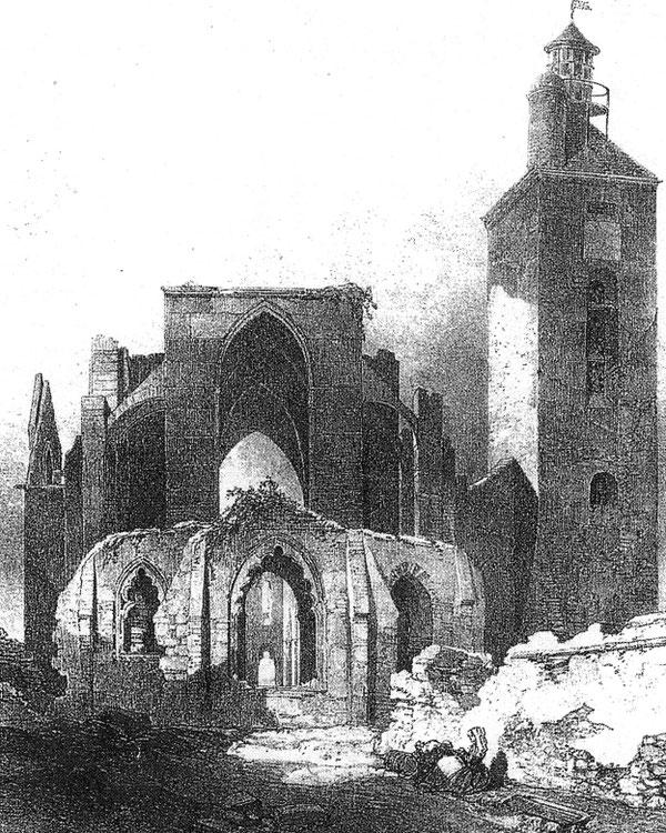 Phare de la pointe Saint Mathieu gravure publiée dans « voyage pittoresques et romantiques dans l'ancienne France, Bretagne de J Taylor dessin d'A Mayer 1830