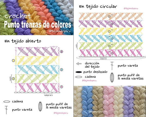 Punto trenzas de colores tejidas a crochet- Tejiendo Perú