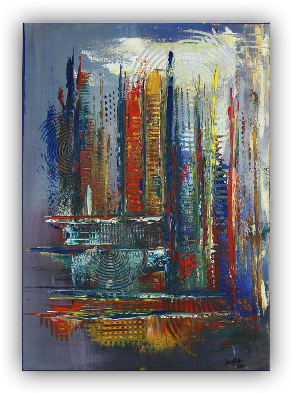 Dynamik - Abstrakte Kunst Malerei blau gelb rot - Wandbild und Leinwandbild abstrakt