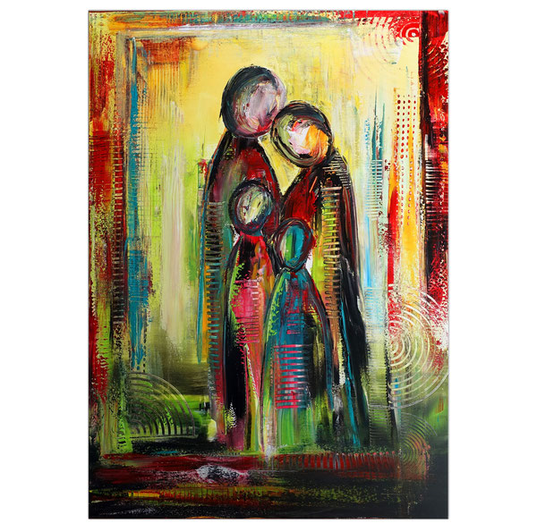 Familien Quartett Figuren Malerei abstrakt figurative Kunst Wandbild