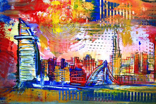 Bildausschnitt - Dubai mit Burj al Arab - Stadtbild, Stadtmalerei, Stadt Gemälde