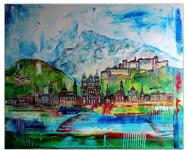 Salzburg Skyline Altstadt abstrakt gemalt - Malerei Kunstbild Acryl Gemälde