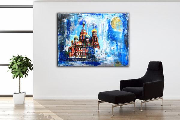 Wohnbeispiel - Sankt Petersburg Auferstehungskirche - Stadtbild, Stadtmalerei, Umdruck Gemälde