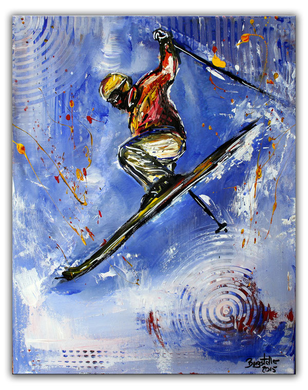 JUMPER - Skifahrer Bilder Gemälde - Skiläufer Kunst Malerei - Ski Sport Kunst