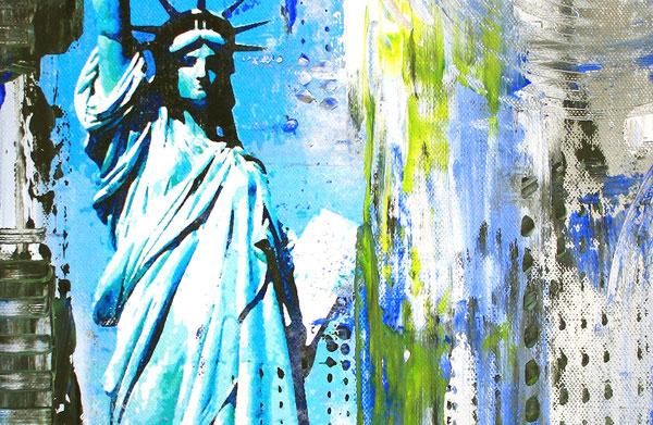 Bildausschnitt - Freiheitsstatue II Statue of Liberty - Umdruck Gemälde und abstrakte Kunst Malerei