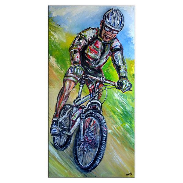 Mountainbiker Downhill handgemaltes Wandbild Gemälde Unikat Kunstbild Malerei 60x120