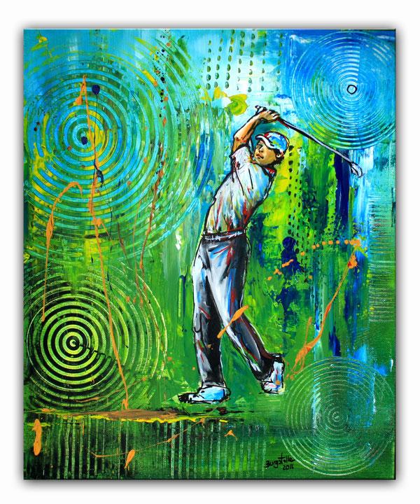 GOLFSPIELER  - Golfbild Acryl Malerei - Sport Bilder Gemälde - Golf Kunst Golfer