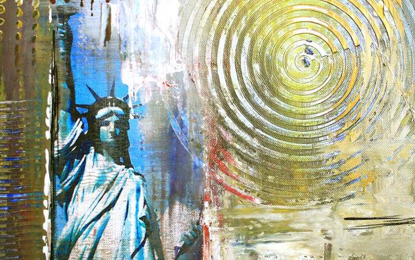 Bildausschnitt - Freiheitsstatue Statue of Liberty - Umdruck Gemälde und abstrakte Kunst Malerei