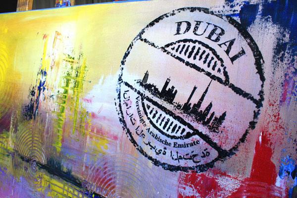 Bildausschnitt 2 - Dubai mit Burj al Arab - Stadtbild, Stadtmalerei, Wandbild