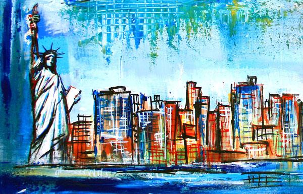Bildausschnitt - New York mit Freiheitsstatue - Stadtbild, Stadtmalerei, Stadt Gemälde, Wandbild