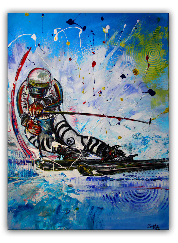 FREERIDE - Skifahrer Bild Gemälde - Deutscher Skiläufer Slalom - Malerei
