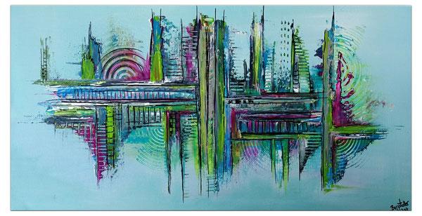 Großstadtleben  BLAU Silber - Abstrakte Malerei - Abstrakte Kunst  - Acrylbilder kaufen