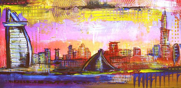 Bildausschnitt - Dubai mit Burj al Arab - Wandbild, Stadtmalerei, Stadt Gemälde