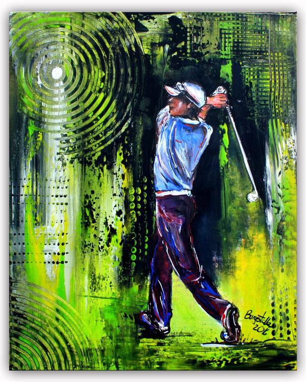 GOLFSPIELER 1 - Golfbild Acryl Malerei - Sport Bilder Gemälde - Golf Kunst - Golfer abstrakt