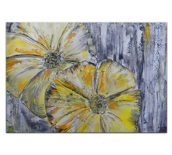 Wandbild Wohnzimmerbild Blüten gelb grau Gemälde Blumen handgemalt 100x70x2