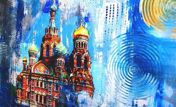 Bildausschnitt - Sankt Petersburg Auferstehungskirche - Stadtbild, Stadtmalerei, Umdruck Gemälde