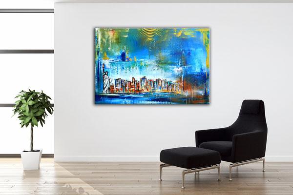 Wohnbeispiel - New York mit Freiheitsstatue - Stadtbild, Stadtmalerei, Stadt Gemälde, Wandbild