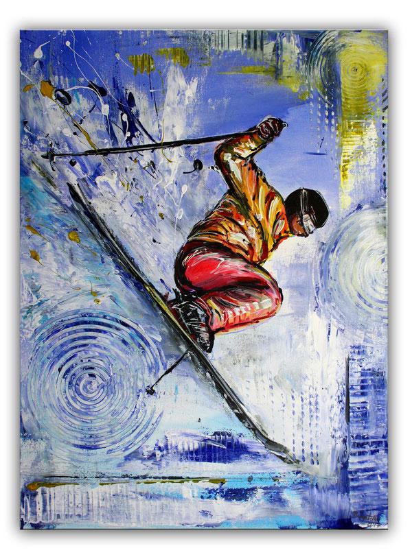 Skifahrer Sprung Tiefschnee Bild - Ski Sport Gemälde Malerei - Skispringer gemalt