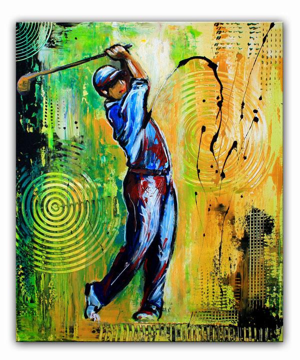 GOLFSPIELER 165 - Golfbild, Golfer Gemälde für Sponsoren