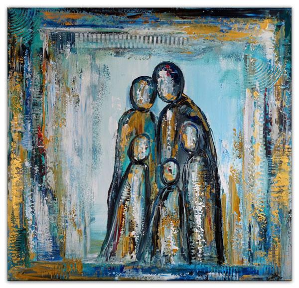 Family Quartett Gelb abstrakte Figuren Wandbild Malerei Acrylbilder Gemälde