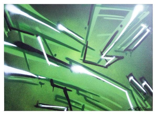 Leinwand auf Keilrahmen Jahr: 2015 Titel: C into the green Größe: 70x100cm ZUM VERKAUF Preis auf Anfrage