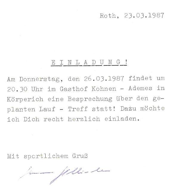 Einladung zur Gründerversammlung der Zollbetriebssportgemeinschaft Körperich