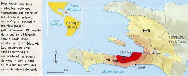 Carte de répartition des intensités sismiques autour de l'épicentre du séisme (Bordas, 2009)