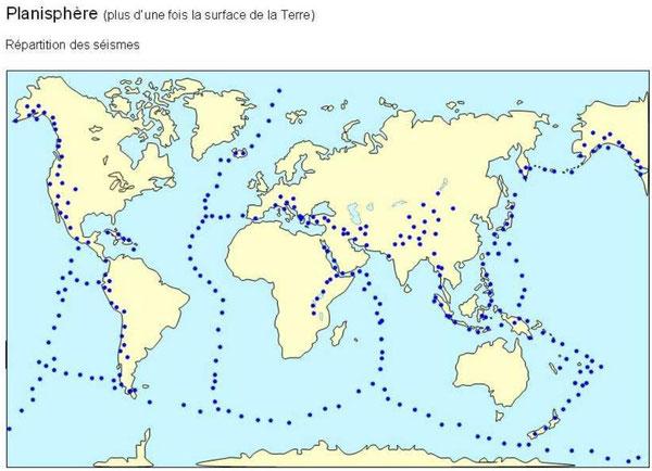 Répartition des séismes sur Terre. Source: http://www.clg-montesquieu-evry.ac-versailles.fr/IMG/pdf/pp_tectonique_des_plaques.pdf