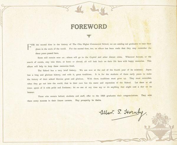 大分高商第2回生卒業アルバムのFORWARD(巻頭言)をホーンビー先生が署名付きで書いている。(著者所収)