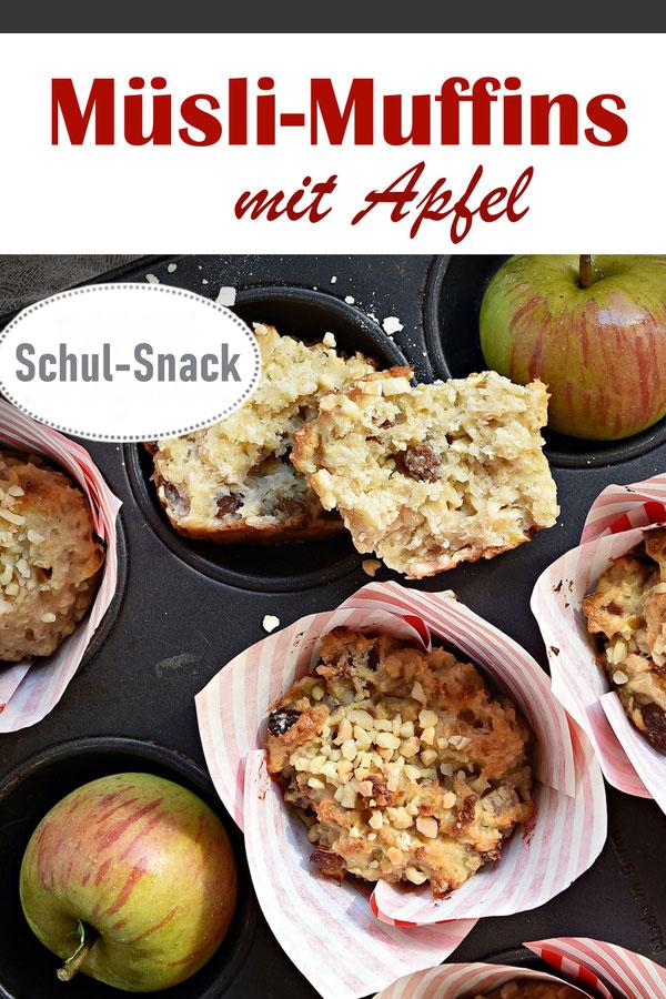 Müsli Muffins ans Schul Snack, Muffins aus Quark Öl Teig mit Äpfeln, Mandeln, Rosinen, Haferflocken, Magerquark, vegan möglich, Frühstück, Schulbrot, Thermomix