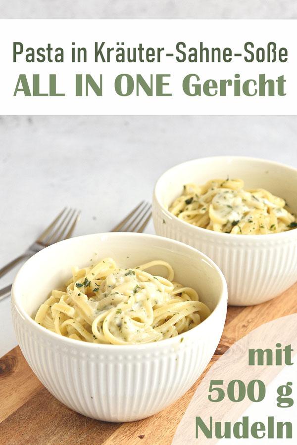 Pasta in cremiger Kräuter Sahne Soße, die Nudeln (wahlweise gehen auch Linguine, notfalls Spaghetti) werden in der Soße gar gekocht, All in One Rezept mit 500 g Nudeln, Thermomix, vegetarisch, vegan machbar
