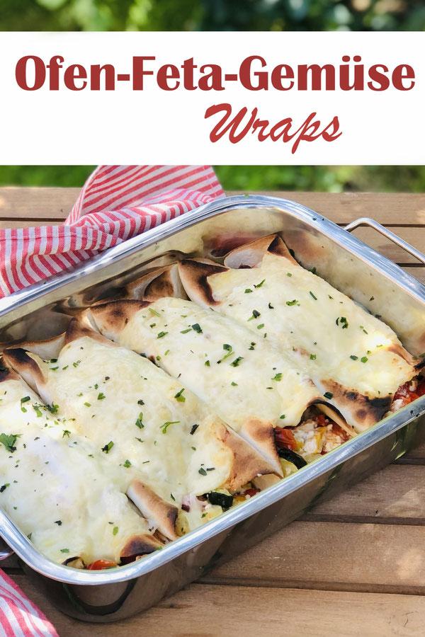 Feta und Gemüse werden im Ofen gegart, danach die Tortillafladen gefüllt und nochmal kurz mit Grillfunktion überbacken, vegetarisch, vegan machbar, Knaller