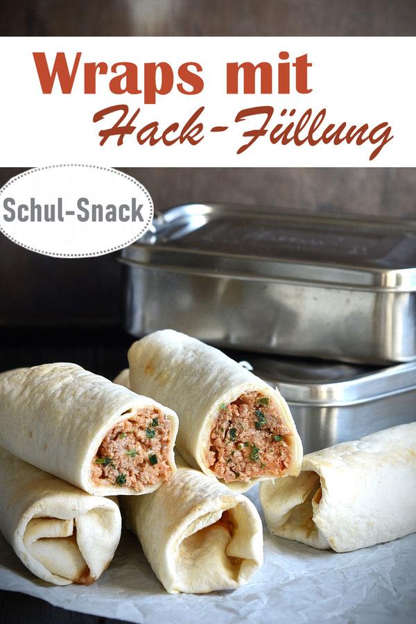 Wraps mit Hack-Füllung, vegetarisch, vegan möglich, eingerollt in Tortilla Fladen, dann gebacken, Schul-Snack, Ideen für die Brotdose, Familienküche, Lunchbox, Thermomix