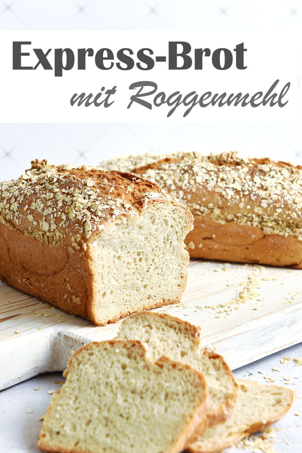Express-Brot mit Weizenmehl bzw. Dinkelmehl sowie Roggenmehl, ohne Gehzeit, ruck zuck gemacht, Thermomix