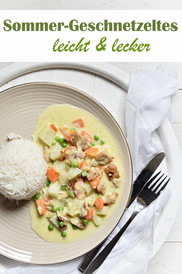 Sommer-Geschnetzeltes mit Kohlrabi, Möhren und Erbsen, dazu Reis, in einer leichten Soße mit Milch gekocht, Thermomix, vegetarisch, vegan machbar, Familienküche, Mittagessen