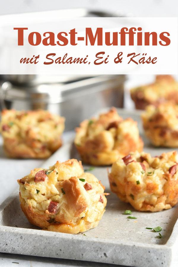 herzhafte Toast Muffins mit Ei, Salami und Käse, Schul-Snack, Ideen für die Brotdose, Familienküche, Lunchbox, Thermomix