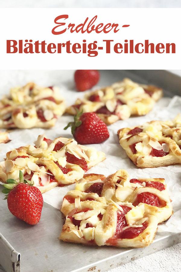 Erdbeer Blätterteig Teilchen schnell und einfach gemacht, einfache Falttechnik für besondere Optik, Blätterteig, Erdbeeren, Frischkäse, Mandeln, vegan möglich