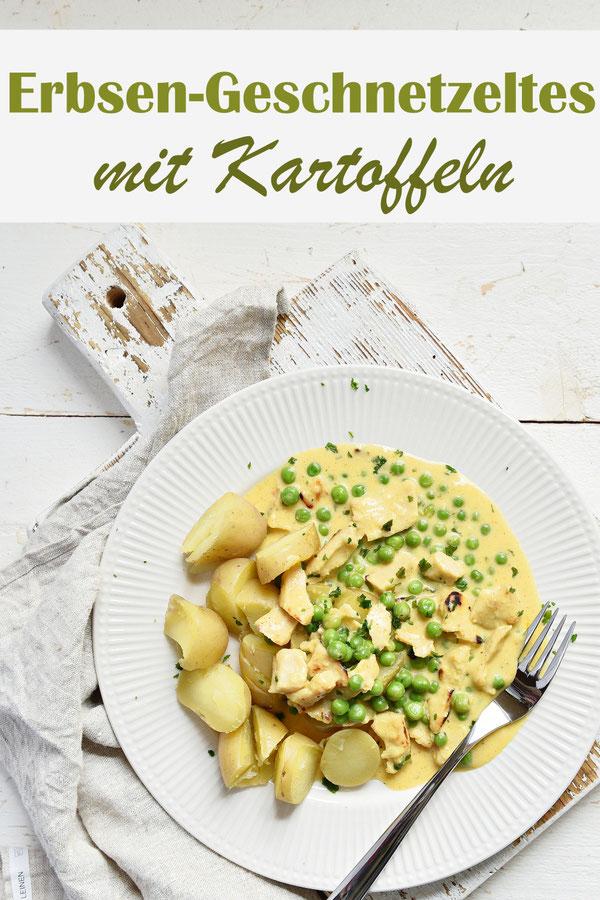 Erbsen und (Veggie-) Hühnchen Geschnetzeltes in einer leckeren Frischkäsesoße mit Senf und Paprikapulver, mit Kartoffeln, Soße aus dem Thermomix, leckeres Mittagessen, Familienküche, vegan und vegetarisch möglich