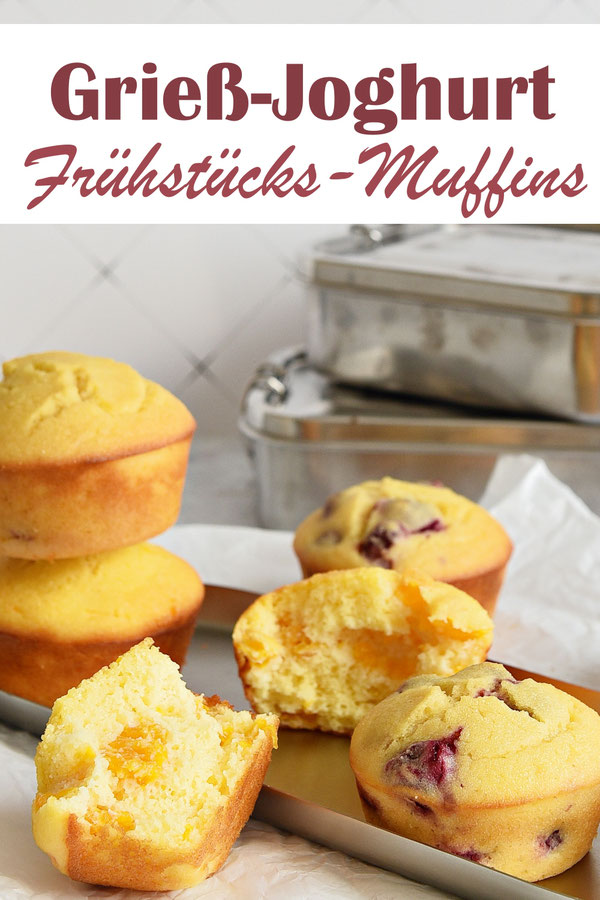 Frühstücks Muffins aus Grieß und Joghurt mit Früchten, Thermomix, Schulbrot, Schul Snacks, Lunchbox, Picknick, Buffet