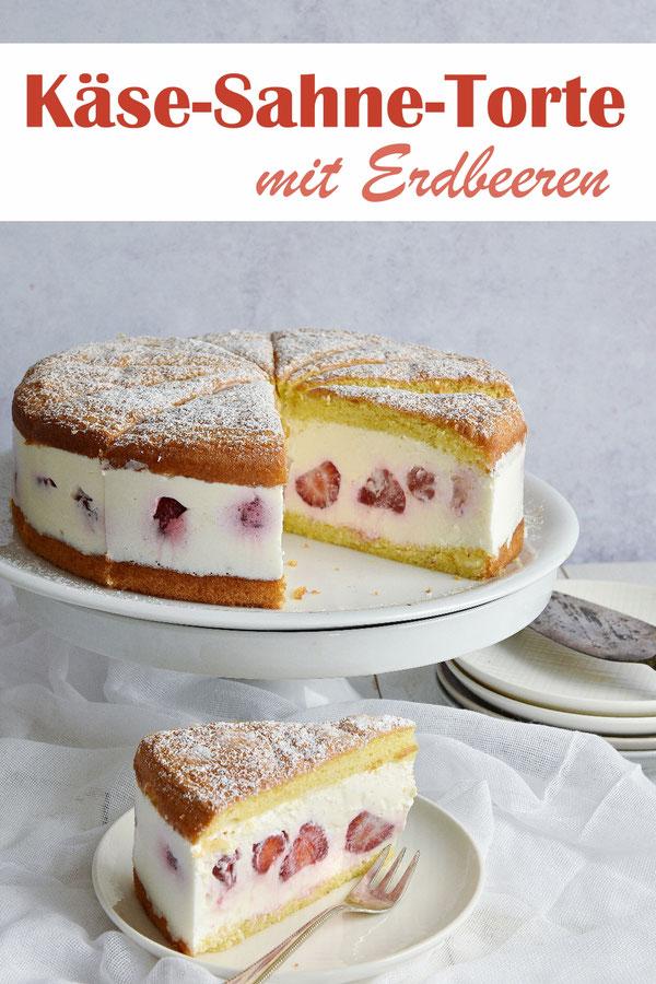 Käse-Sahne-Torte mit Erdbeeren, ohne Gelatine, glutenfrei möglich, mit Magerquark, Mascarpone, Agar Agar, Biskuitboden, Thermomix