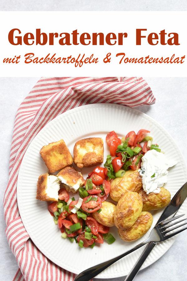 Backkartoffeln mit gebratenem Feta und Tomatensalat mit Frühlingszwiebeln sowie Kräuterquark, vegetarisch Mittagessen, Familienküche, sommerliches Hauptgericht
