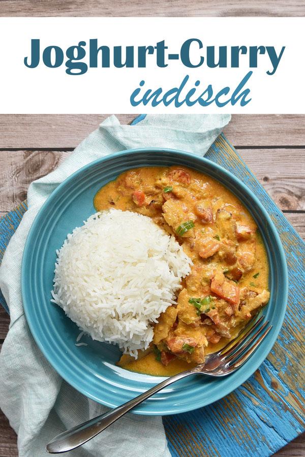 Joghurt Curry indisch mit Paprikaschoten und Hähnchen oder Hähnchen Ersatz, vegetarisch, vegan, mit Joghurt, Tomaten, Mittagessen, Soulfood, Familienküche, Thermomix