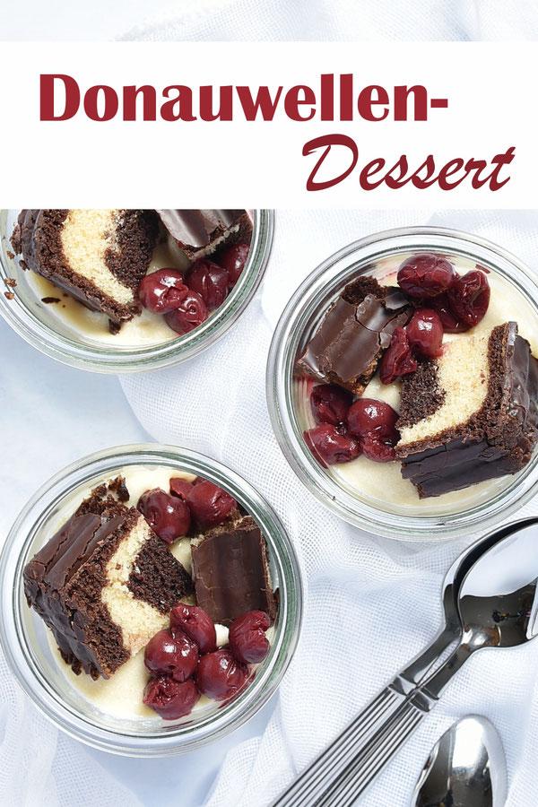 Dessert Donauwelle im Glas, mit Marmorkuchen, Kirschen und Buttercreme, Thermomix, vegan möglich