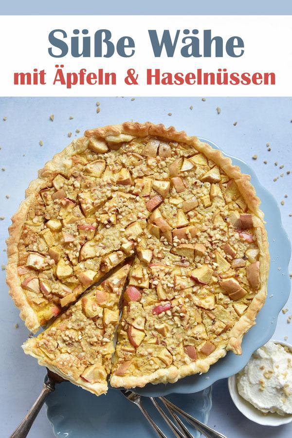 Süße Wähe mit Äpfeln und Haselnüssen, schnell und einfach gemacht, mit Blätterteig, Äpfeln und einem Ei-Sahne-Guss, lecker, ruck zuck, Kuchen