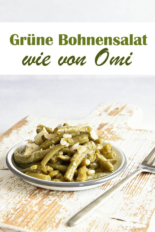 Grüne Bohnen Salat mit Zwiebeln , vegen, vegetarisch, wie von Omi, statt Speck mit geräuchertem Paprikapulver, im Thermomix gegart.