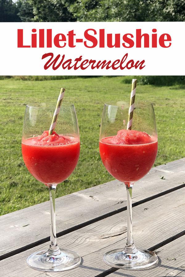 Lillet Slushie Watermelon, Wassermelone über Nacht in Stücken eingefroren, mit Lillet und Prosecco in den Thermomix geben, dann mixen, bis es Slushie Konsistenz hat, Yummy!! Thermomix, Slushie-Rezept