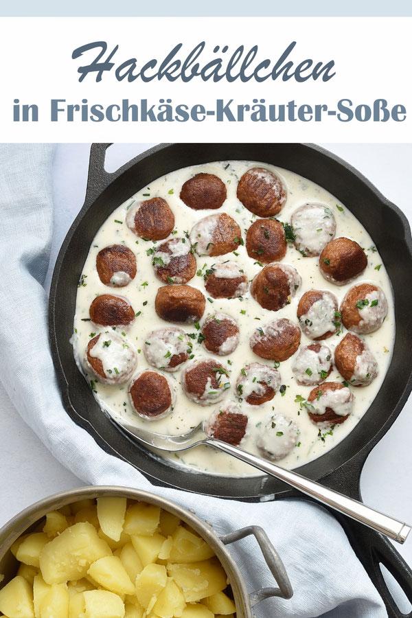 Hackbällchen, selbst gemacht in vegetarisch oder vegan, in Frischkäse-Kräuter-Soße mit Kartoffeln, Thermomix