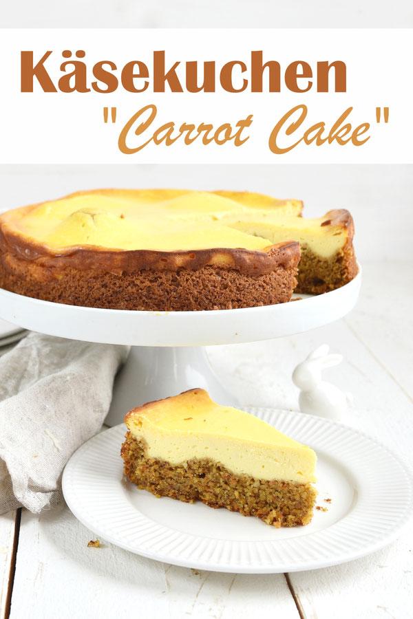 """Käsekuchen """"Carrot Cake"""" - unten ein leckerer Carrot Cake Boden mit Möhren, Haselnüssen und/oder Mandeln, oben drauf ein Käsekuchen mit Magerquark und Frischkäse oder in einer veganen Version mit Soja Skyr und Creme Vega, Kuchenbuffet, Thermomix"""