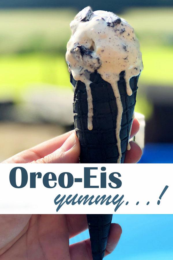 Oreo Eis selbst gemacht, entweder mit selbst gemachtem Eis mit und ohne Eismaschine oder einfach mit Vanilleeis aus dem Supermarkt, vegan möglich, z.B. Thermomix