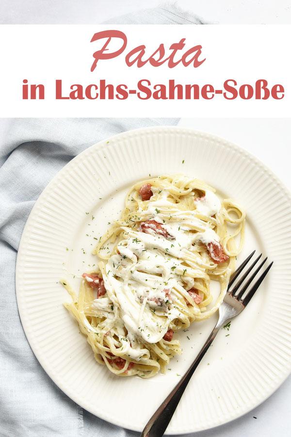 Pasta in Lachs Sahne Soße, Thermomix, vegetarisch und vegan möglich, Klassiker, Mittagessen, Familienküche